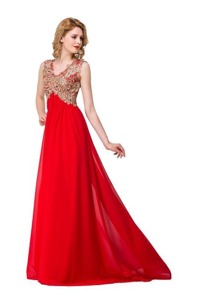 ESME | A-Line Floor-Length Sleeveless V-Neck Lace Appliques Prom Dresses_5