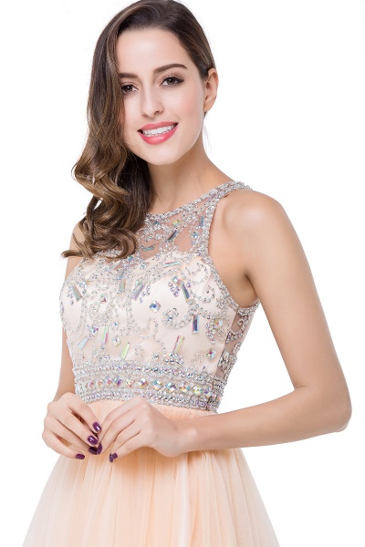 ELISA | A-line Crew Sleeveless Tulle Short Prom Dresses with Beadings_12
