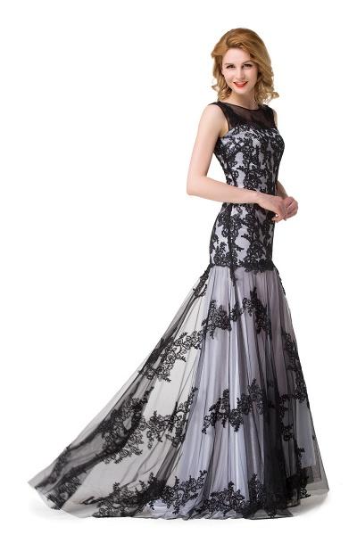 DANIELA | Scoop Neck Mermaid Black lace Applique Evening Prom dresses_11