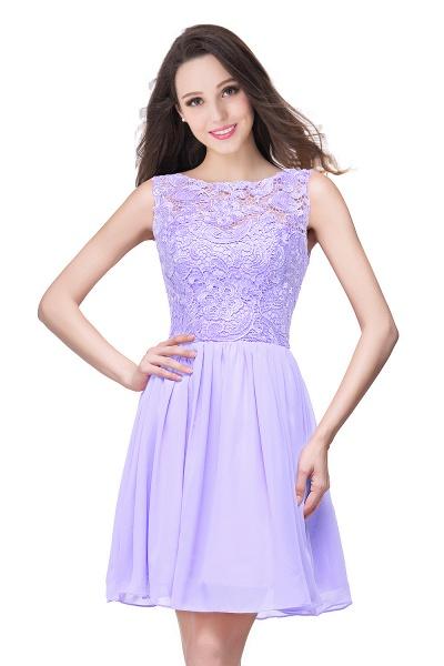 ELIANA | A-line Short Sleeveless Bateau Chiffon Ruffles Lace Top Prom Dresses_4