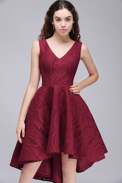 ALEJANDRA | A Line V Neck Burgundy Lace Cocktail Homecoming Dresses_6