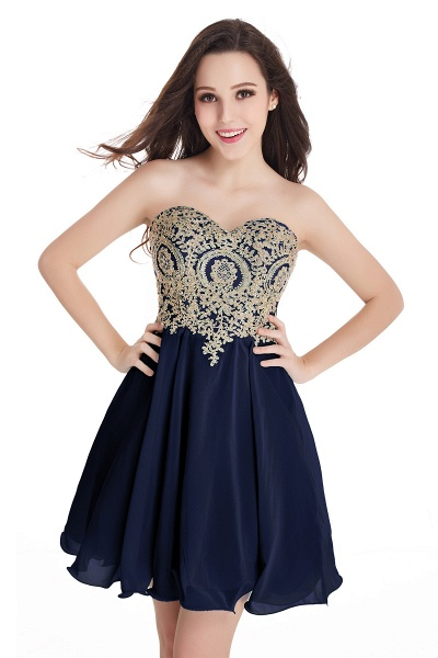 A-Line Strapless Short Chiffon Prom Dresses with Beadings_6