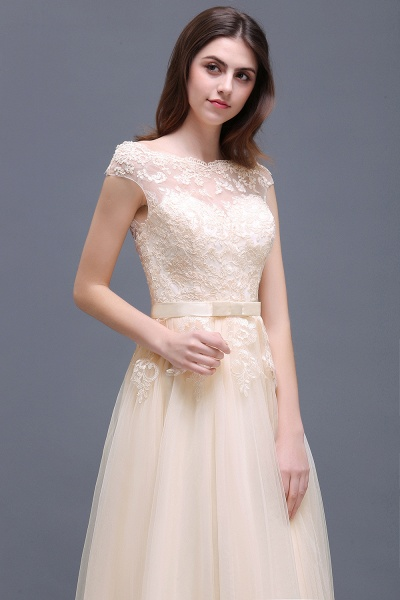 A-line Floor-Length Tulle Bridesmaid Dress With Lace Appliques_12