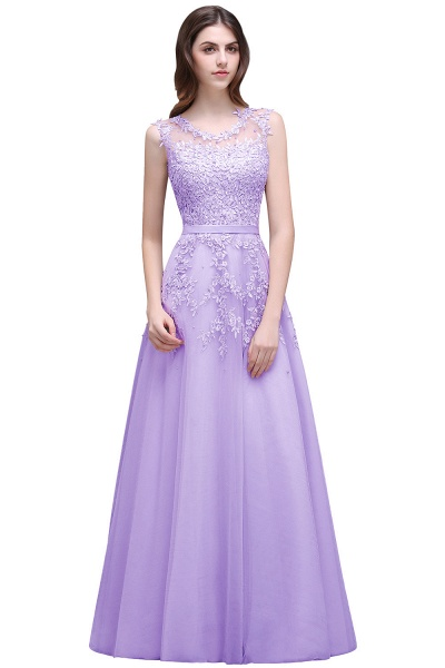 Beautiful V-neck Tulle A-line Evening Dress_4