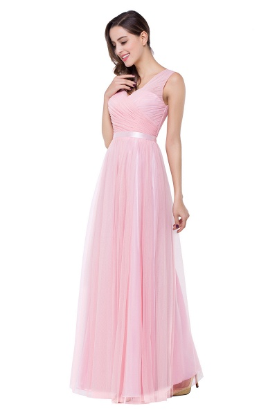 ELLIOT | A-line Sleeveless V-neck Floor-length Tulle Bridesmaid Dresses_7