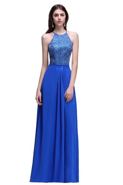 CALLIE | A-line Halter Neck Chiffon Royal Blue Prom Dresses with Sequins_1
