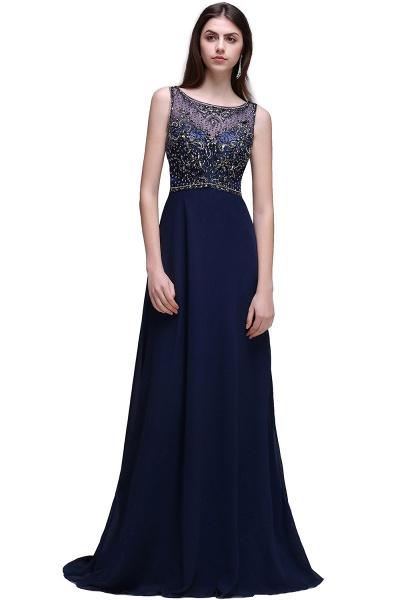 CALI | A-line Long Chiffon Dark Navy Vintage Prom Dresses with Rhinestones_1