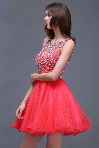 BIANCA | Puffy Straps Short Tulle Homecoming Dresses With Crystal_4