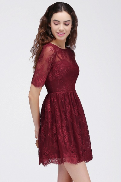 Burgundy A-Line Round Neck Lace Short Homecoming Dresses_4