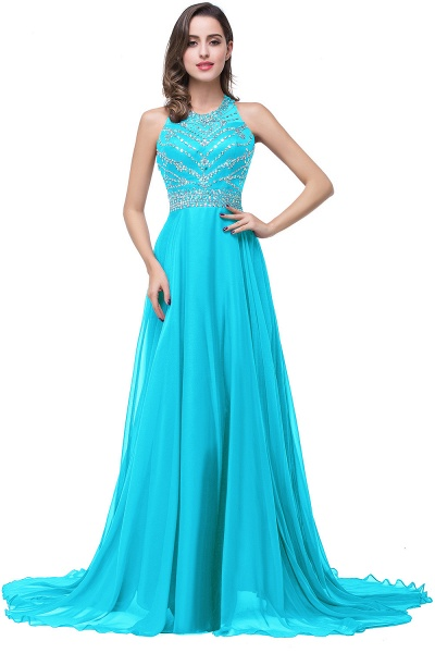 Eye-catching Jewel Tulle A-line Evening Dress_2
