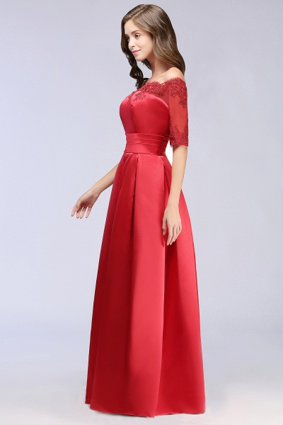 Elegant Off-the-shoulder Satin A-line Evening Dress_8