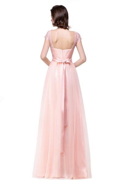 ELLIANA | A-line Short Sleeve Chiffon Bridesmaid Dresses with Ribbon Bow Sash_7