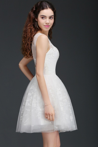 Affordable Jewel Tulle A-line Homecoming Dress_5