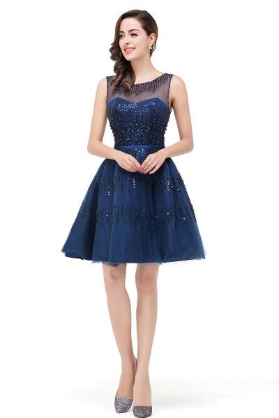 FATIMA | A-Line Sleeveless Crew Tulle Appliques Short Prom Dresses_5