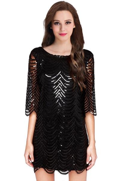Black Long Sleeve Short Casual Dress_2