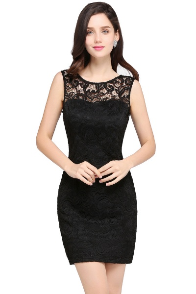 Elegant Scoop Lace Column Bridesmaid Dress_5