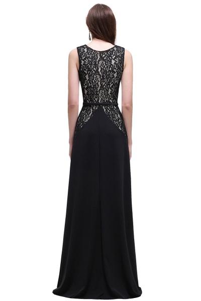 BRYANNA   A-line V-Neck Long Lace Black Prom Dresses with Sash_3