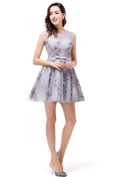 DANICA | A-Line Jewel Sleeveless Flower Applique Grey Prom Dresses_5