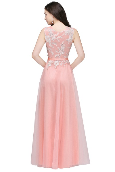 CARLY | A-line Jewel Neck Long Tulle Pink Prom Dresses with Sash_5
