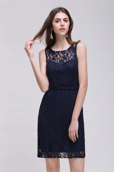 CHARLEIGH |Sheath Scoop neck Short Navy Blue Lace Prom Dresses_4