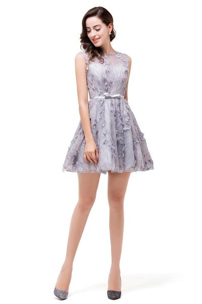 DANICA | A-Line Jewel Sleeveless Flower Applique Grey Prom Dresses_4