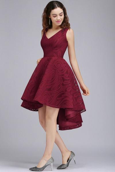 ALEJANDRA | A Line V Neck Burgundy Lace Cocktail Homecoming Dresses_4