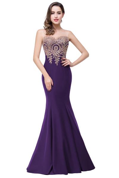 INGRID   Mermaid Crew Illusion Plus size Long Sleeveless Burgundy Formal Dresses with Appliques_5