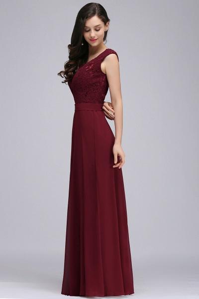 Scoop Cap Sleeves Satin Chiffon A-line Floor Length Bridesmaid Dress_9