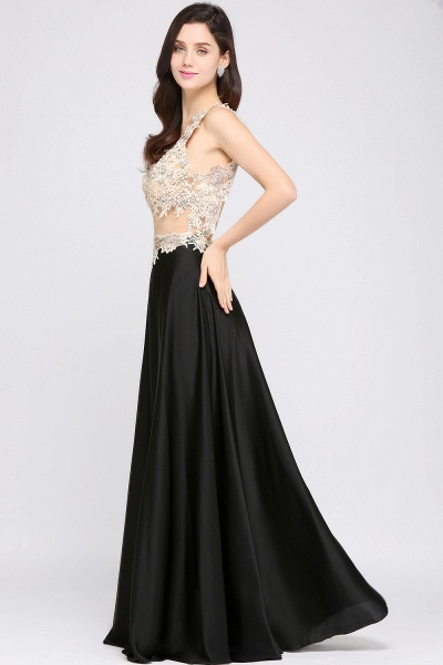 ARIELLE | A-line Floor Length Black Chiffon Evening Dresses with Appliques_4