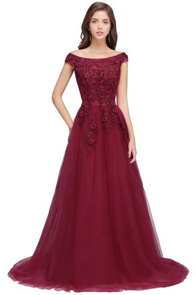 Sleek Off-the-shoulder Tulle A-line Evening Dress_1
