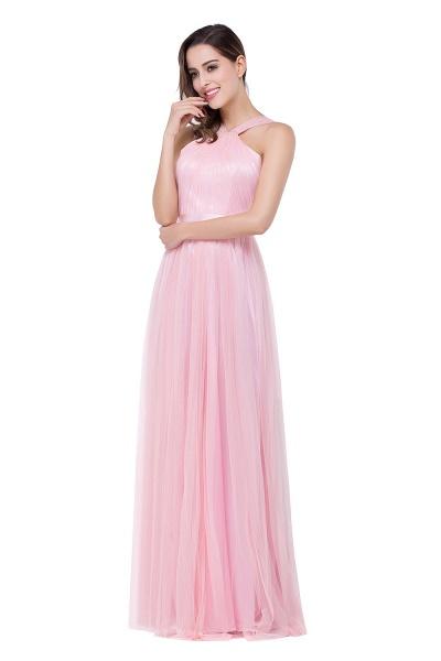 ELLIOTT   Sheath Floor-length Pink Tulle Bridesmaid Dresses with Ribbon Sash_5