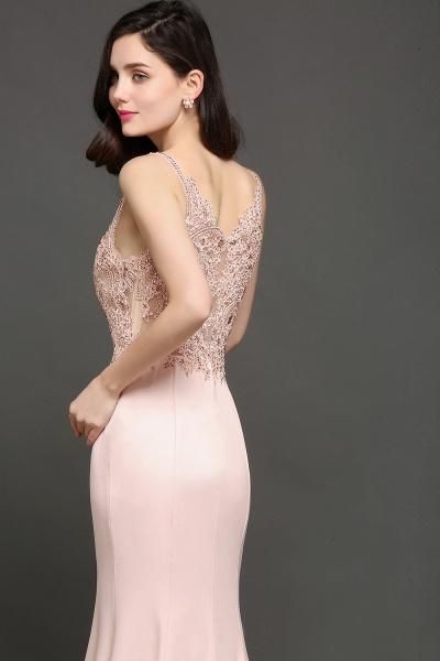 Modest V-neck Stretch Satin Mermaid Evening Dress_4