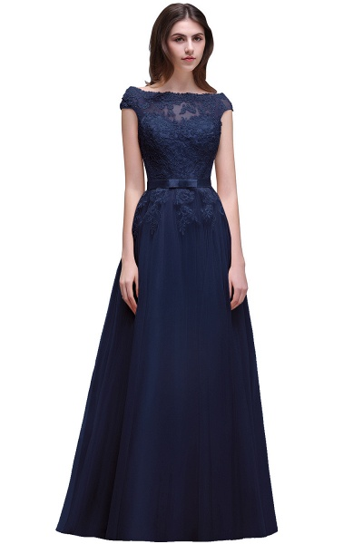 A-line Floor-Length Tulle Bridesmaid Dress With Lace Appliques_5