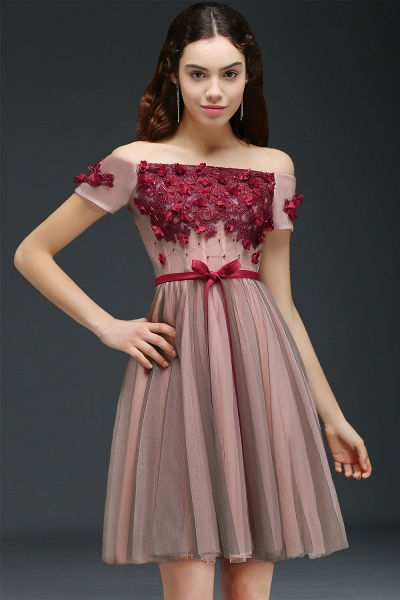 Sleek Off-the-shoulder Tulle A-line Homecoming Dress_6