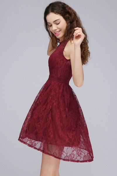 BRIELLE | A-Line Round Neck Short Lace Burgundy Homecoming Dresses_3