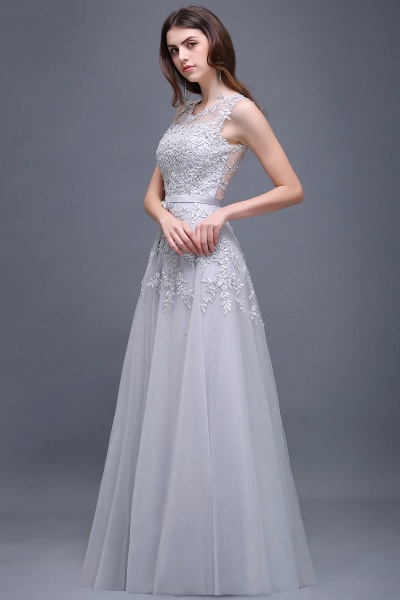 Beautiful V-neck Tulle A-line Evening Dress_12