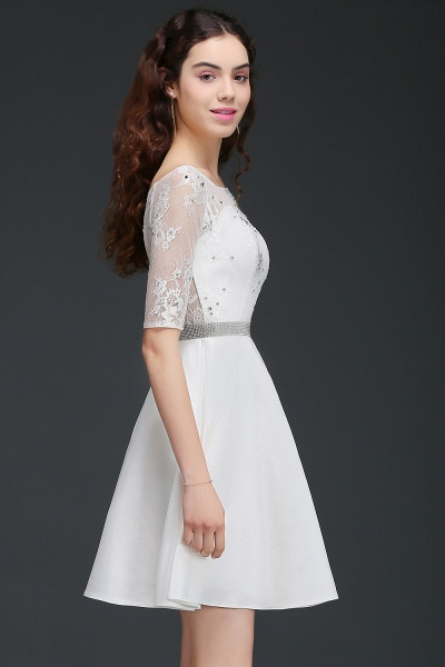 ALICIA | A Line Jewel White Short Sleeve Satin Homecoming Dresses With Lace_3