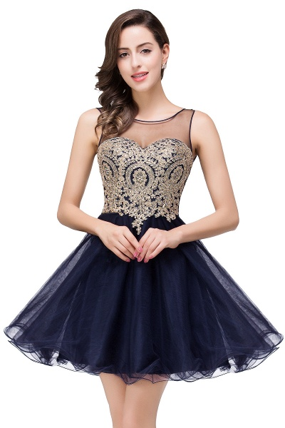A-line Crew Short Sleeveless Appliques Prom Dress_5