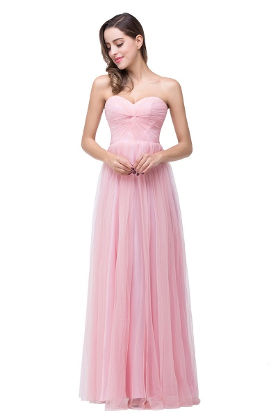 Glorious Strapless Tulle A-line Bridesmaid Dress_2