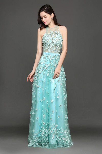 ARIAH | A-line Floor Length Tulle Amazing Evening Dresses with Flowers_4