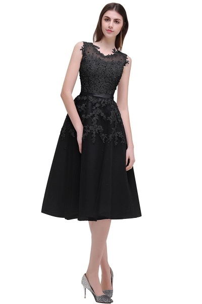 EMORY | A-Line Crew Tea Length Lace Appliques Short Prom Dresses_5