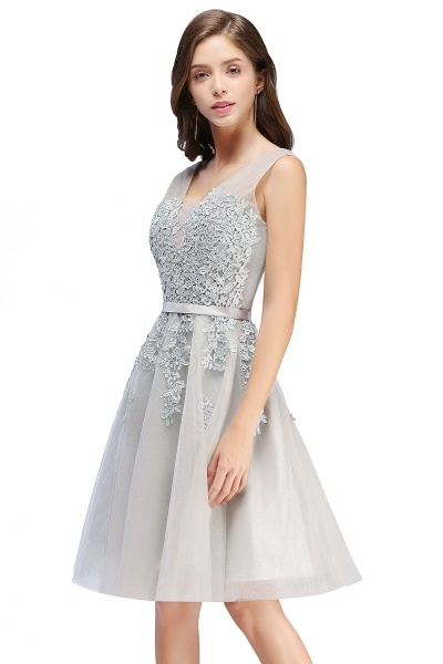 Glorious V-neck Tulle A-line Evening Dress_8