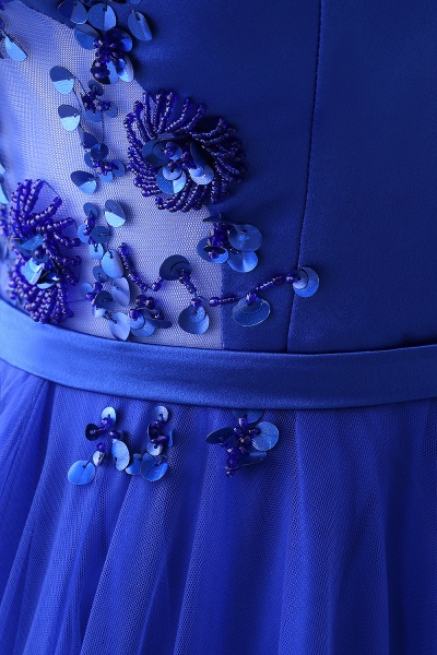 CHANEL   Ball Gown Off-the-shoulder Floor-length Blue Tulle Prom Dress_11