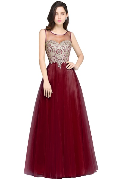ARIA | A-line Scoop Tulle Gorgeous Evening Dresses with Appliques_2