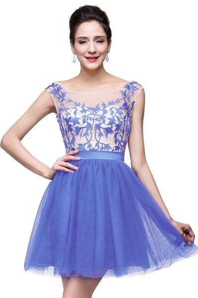 ELIZA | A-line Sleeveless Bateau Short Tulle Appliques Prom Dresses_3