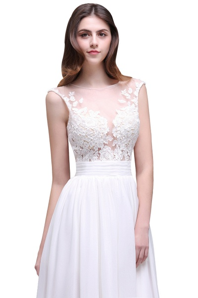 Chiffon Lace Appliques Sleeveless Boho Wedding Dress_5