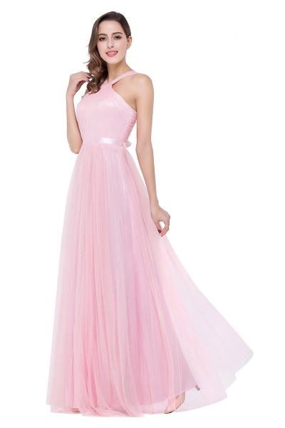 ELLIOTT   Sheath Floor-length Pink Tulle Bridesmaid Dresses with Ribbon Sash_6