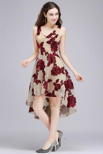 Short Appliques Tulle V Neck Prom Dresses_1