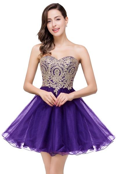 Gabriela | A Line Lace Appliques Sweetheart Short Prom Dresses_1