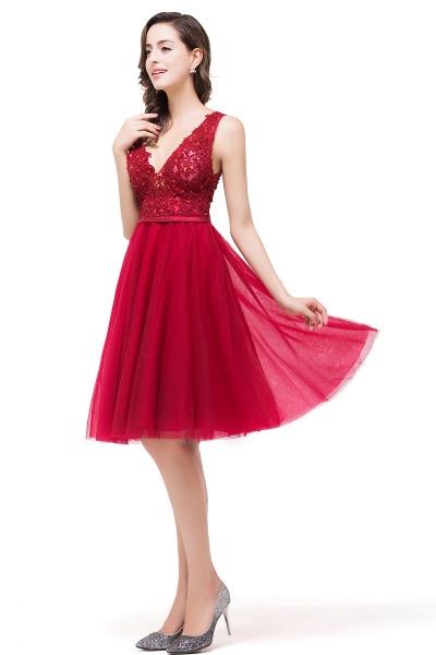 EVIE   A-Line Deep-V Neck Sleeveless Short Prom Dresses with Appliques_8